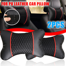 Mayitr 1pair Car Seat Pillow Headrest Neck Cushion PU Leather Knitted For Auto SUV Interior Accessories