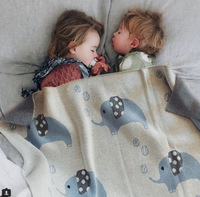 Newborn Baby Blankets Super Soft Toddler Infant Bedding Quilt For Bed Blanket For Kid Elephant Cartoon Plaid Swaddle Baby Wrap