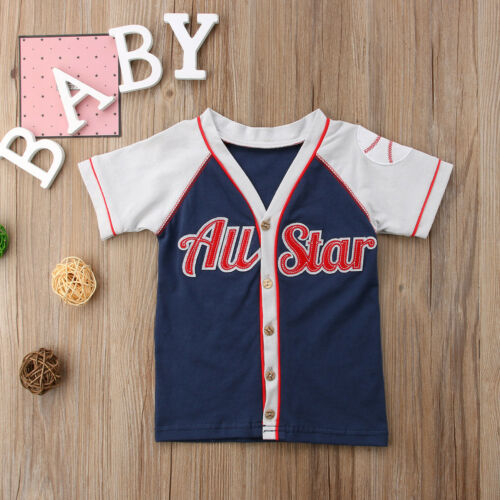 Aspiring Cute Newborn Kids Baby Boy Girl Short Sleeve Tee Baseball Cardigan T Shirt Top
