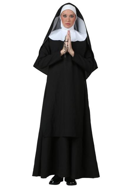 Womens Sexy Nun Costume Virgin Mary Religious Nun Fancy Dress With Veil