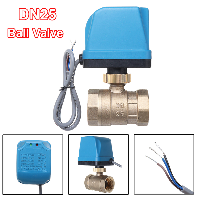 AC220V DN25 Electric Motorized Ball Valve 2 Way 3-Wire 1.6Mpa Rotate 90 Degrees Brass Ball Value For Medium Of Water / Gas / OilAC220V DN25 Electric Motorized Ball Valve 2 Way 3-Wire 1.6Mpa Rotate 90 Degrees Brass Ball Value For Medium Of Water / Gas / Oil