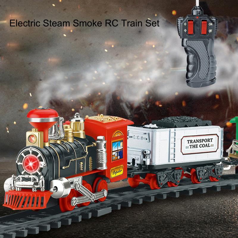 Electric Steam Smoke RC Track Train Set Simulation Model Rechargeable Classic Children Toy Set