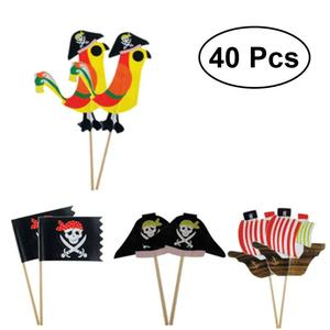 40pcs Topers Food-grade Attractive Pirate Theme Unique Design Ornamnets Cake Picks Party Decoration Cake Insert Card for Party(China)