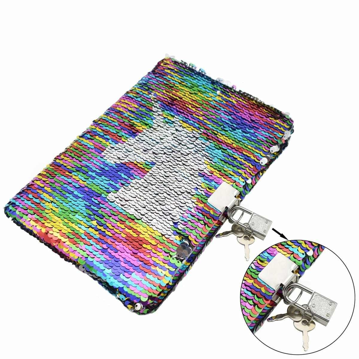 Reversible Glitter Sequin Journal Office Diary Notebooks School Memos With lock for Kid Girl Adult Festival Gifts Random pattern