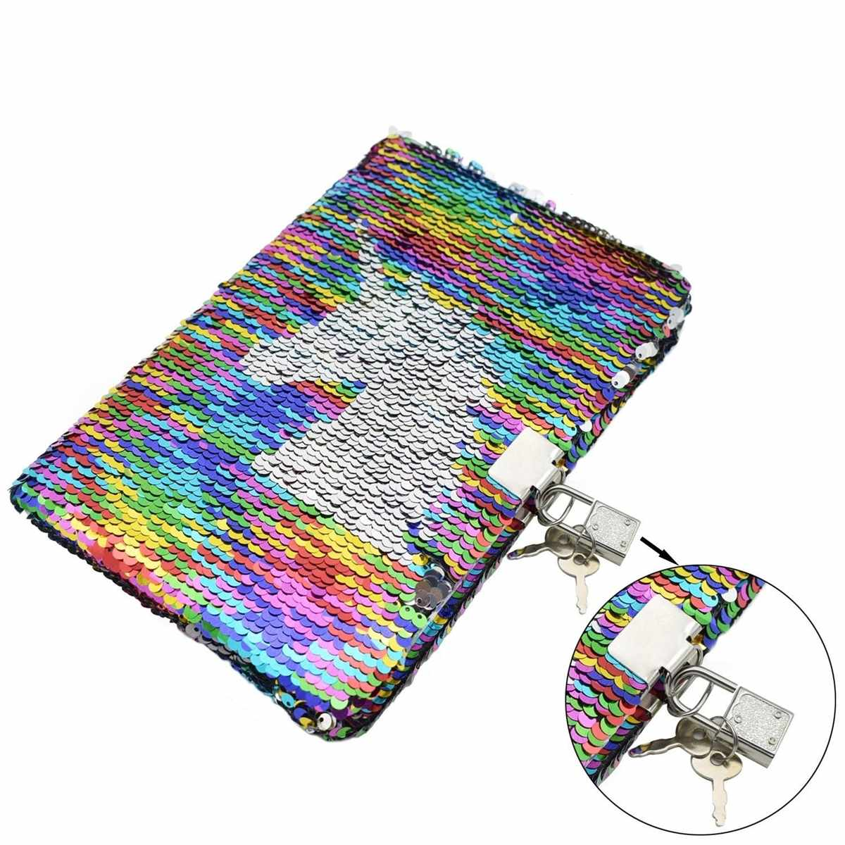 Five Below Reverse Flip Sequin Journal Diary Notebook with Lock and Keys White