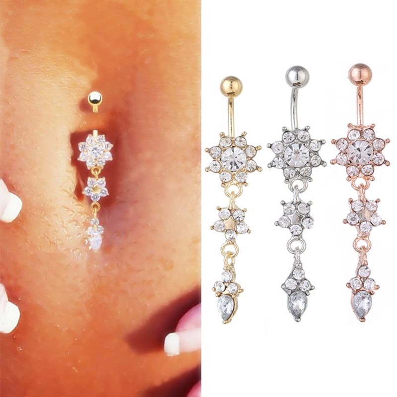 Body Candy Gold Plated Steel Clear Accent Bubbling Filigree Dangle Belly Ring