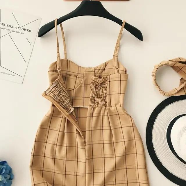 Fashion Cute Strap Plaid Mini Dress Causal Women O-Neck High Waist Ruffle Hem Short Dress Slim Sleeveless Bodycon Party Dress