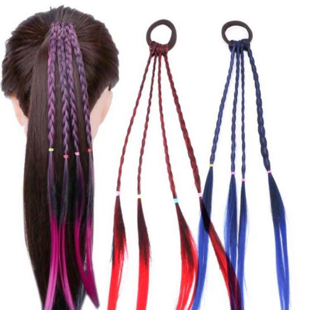 Красочные в виде скрученной косы парики резинки для волос заколки для прически конский хвост резинки для волос полосы вечерние крыло Головные уборы красные, синие фиолетовый