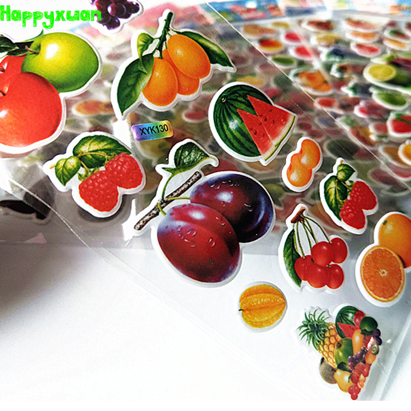 Happyxuan 12 Sheets Kids Cute Puffy Stickers Fruits Mixed Vegetable Girls Classic Learning Toy Preschool Reward School Teacher