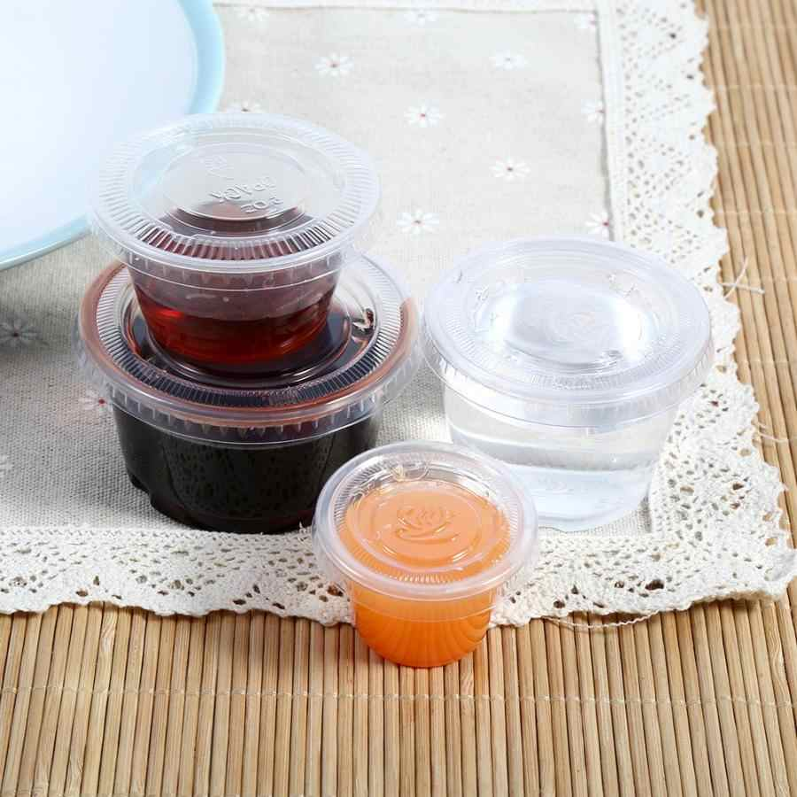 50 Pcs Disposable Plastic Clear Sauce Chutney Cups Boxes With Lid Food Takeaway Organizer Kitchen Gadgets