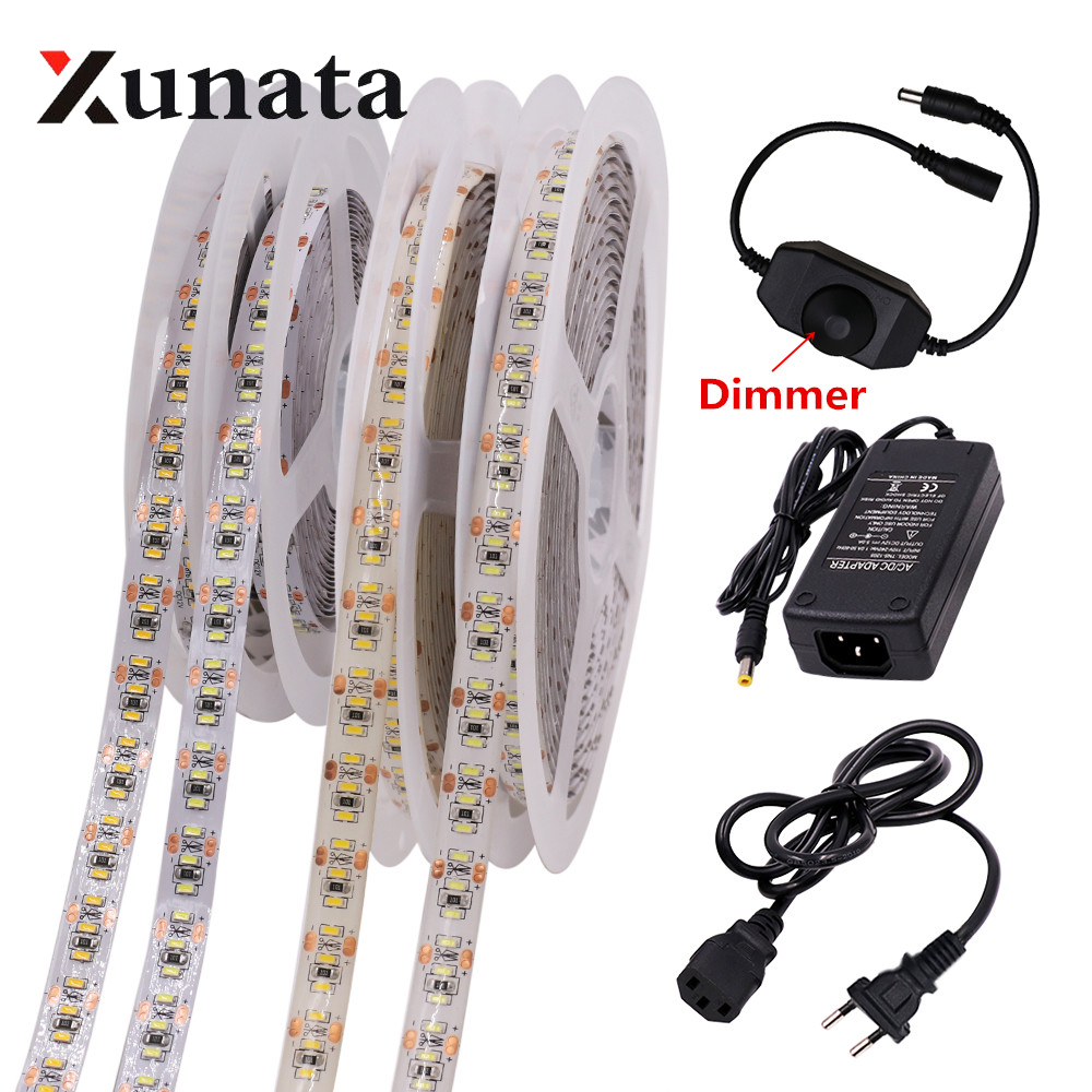 Us 16 0 30 Off 3014 Led Strip Lighting 204leds M Dc 12v Waterproof Flexible Tape Rioon Light Lamp With Dimmer Plug Eu Au Uk Optional 5m In