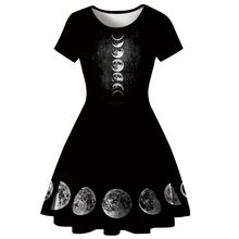 Rosetic Women Gothic Dress Summer Sexy Short Mini Plus Size XL Moon A Line Pleated Darkness Witch Vampire Party Holiday