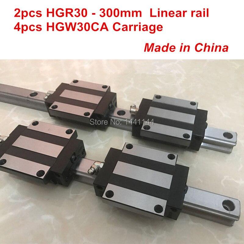 HGR30 guida lineare: 2 pz HGR30-300mm + 4 pz HGW30CA blocco di trasporto lineare parti CNCHGR30 guida lineare: 2 pz HGR30-300mm + 4 pz HGW30CA blocco di trasporto lineare parti CNC