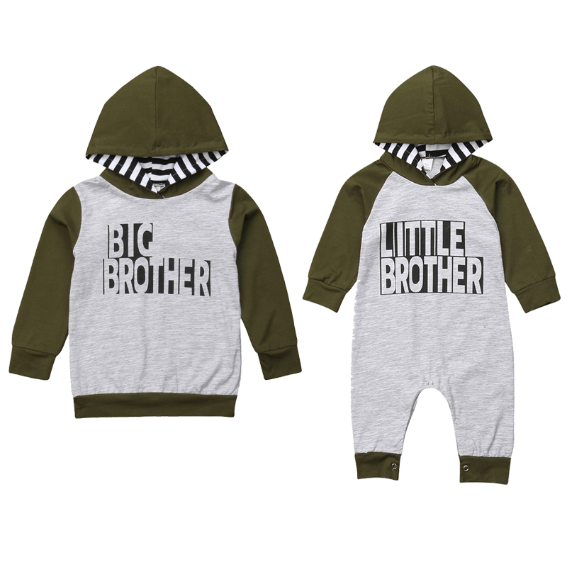 Big/Little Brother Family Match Clothes Long Sleeve Pullover Tops Baby Boys Romper Jumpsuit One Pieces Outfits Autumn Clothes