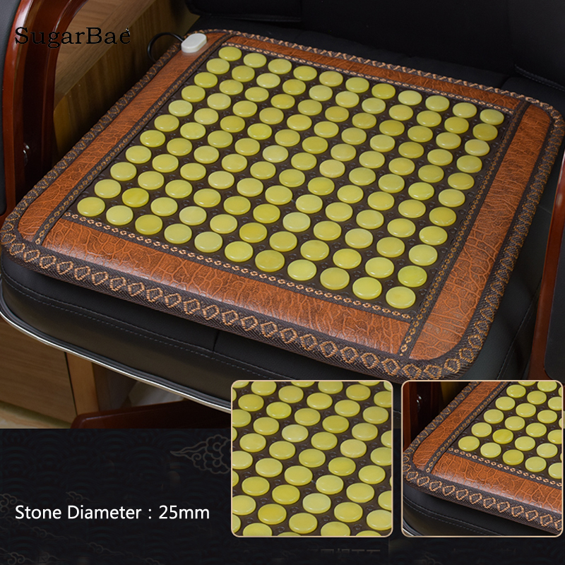 Electric Heating Yellow Jade Chair Mat Tourmaline Thermal Mattress Natural Stone Therapy Mat For Sale household jade mattress heating electronic therapy chair cushion 8 design for your choice