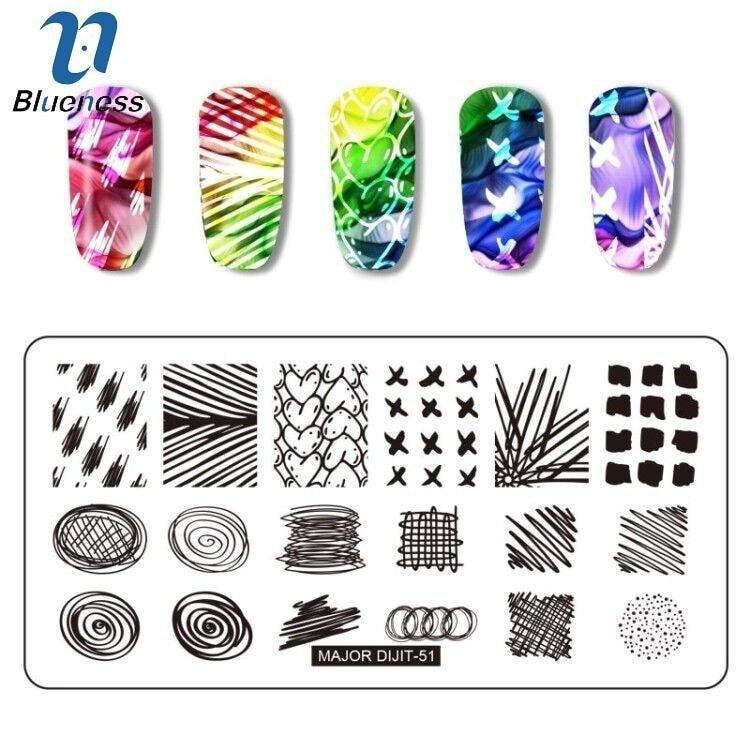 One piece GeometricNail штамповочные пластины точки волнистые линии изображения стали шаблон дизайн ногтей