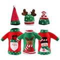 3 sztuk brzydkie świąteczny sweter wina pokrowiec na termofor, ręcznie robione wina butelka sweter na boże narodzenie dekoracje brzydki boże narodzenie