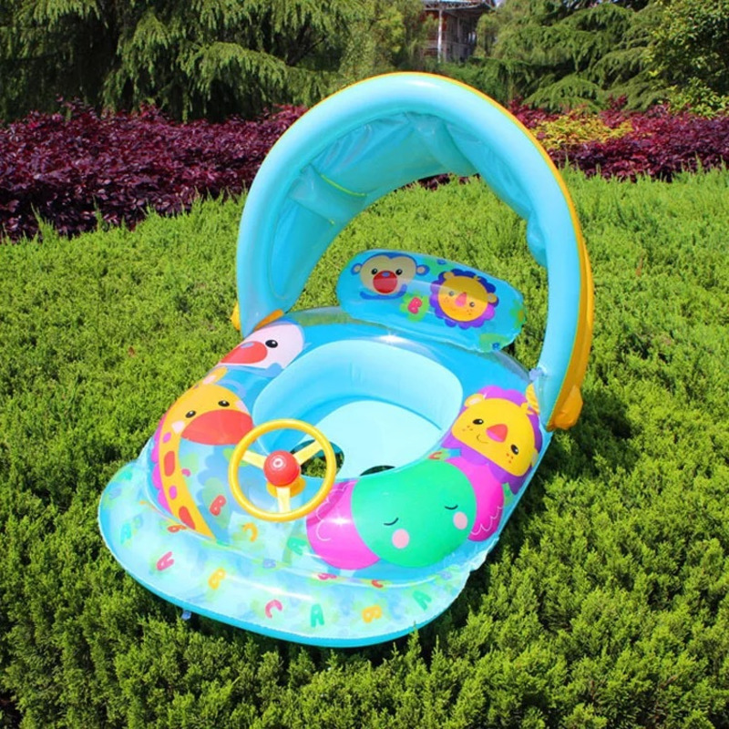 Cartoon Animals Baby Pools Accessories Newborn Baby Float Inflatable Seating Ring With Sunshade Swimming Pool Toys Bathtub Toy