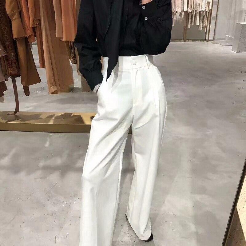 Image 3 - GALCAUR للنساء بنطال ذو قصة أرجل واسعة ارتفاع الخصر سستة جيب كبير  الحجم X طويل بنطلون ربيع أنثى 2018 موضة OL ملابس-في السراويل وبناطيل  الكابري من ملابس نسائية على
