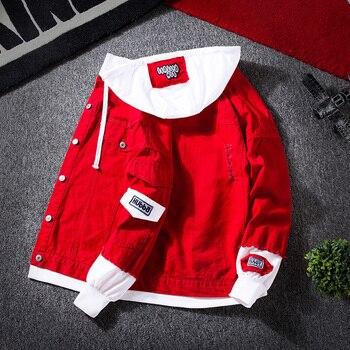 # 3407 ربيع 2019 الأحمر الوردي الأسود جينز سترات الرجال سليم الشارع الشهير ممزق الدينيم سترة هوديي الرجال الهيب هوب منفذها سترات أوم 1