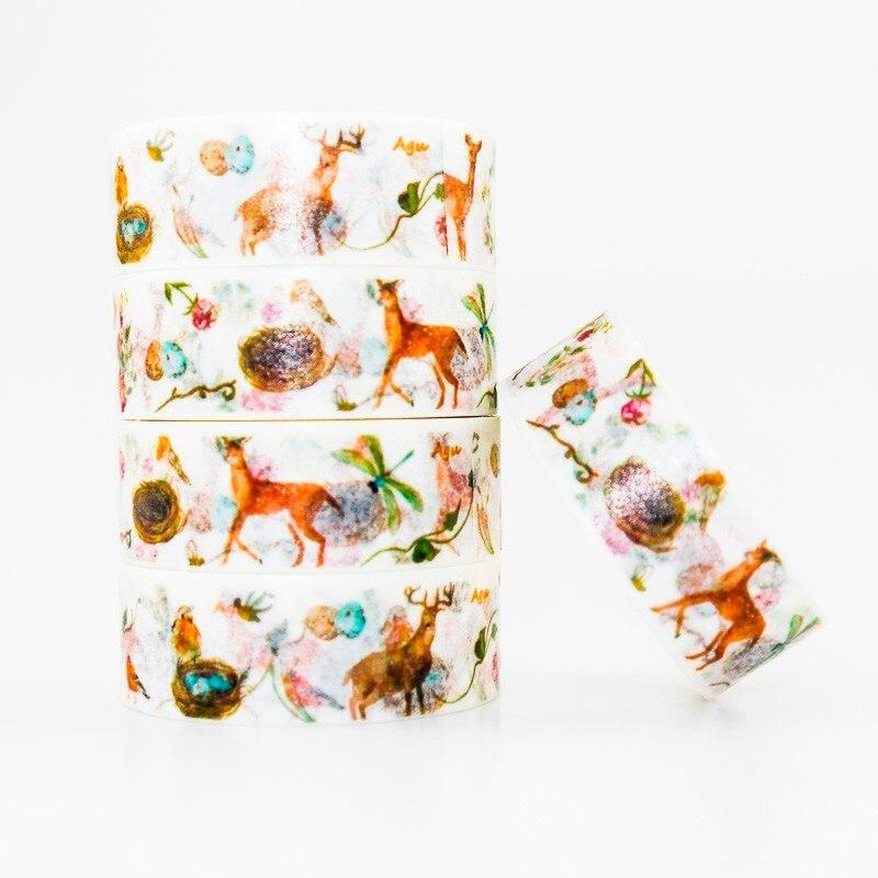 Cute Deer Pattern Washi Masking Tape Sticky Color Decorative Tape Set DIY Decoration Office Stationery Scrapbook 1PCS