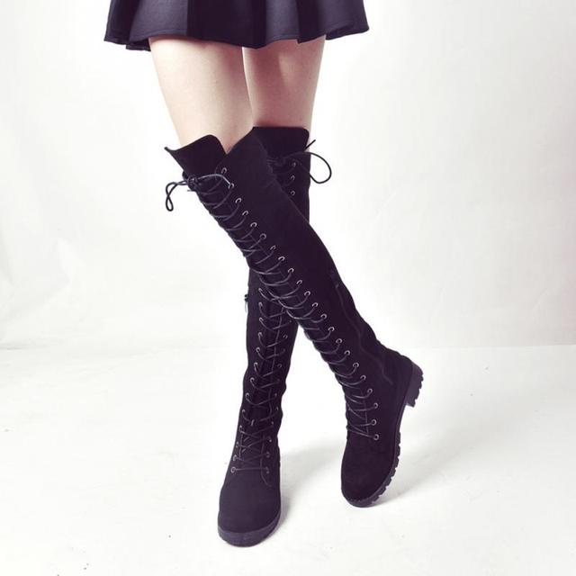 41a760e689c Sexy Lace Up Over Knee Boots Women Boots Flats Shoes Woman Square Heel  Rubber Flock Boots Botas Winter Thigh High Boots