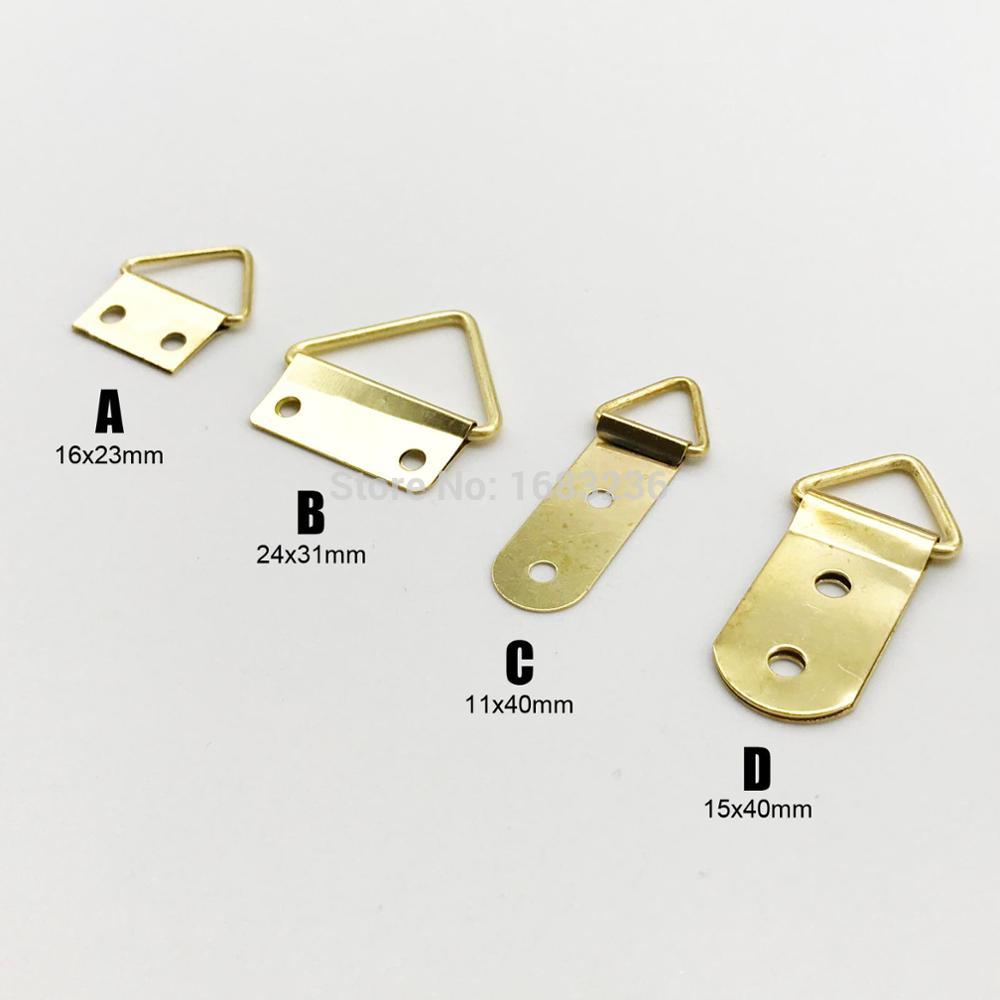 100pcs Mini Golden Triangle D-ring Picture Oil Painting Mirror Photo Frame Hook Hanger 10x20mm With Screws Furniture Accessories Furniture