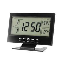 Sound Control Desktop LED Alarm Clock Temperature Humidity Hygrometer Clock Backlight Bedside Digital Desktop Clock Home Decor