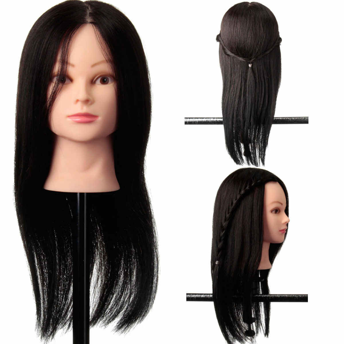 22 inch 100% Real Human Hair Training Head Hairdresser Hairdressing Mannequin With Clamp Holder Women Lady Mannequin 2019 New