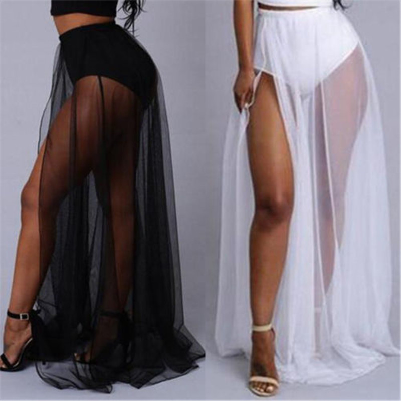 Women High Waist Mesh Skirts Empire See Through Sheer Side Split Skirt Solid Transparent Chiffon Maxi Long Skirt Summer 2018