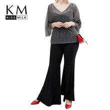 Kissmilk Milk Plus Size Women Clothes Sequin Top With Tie Waist In Grey