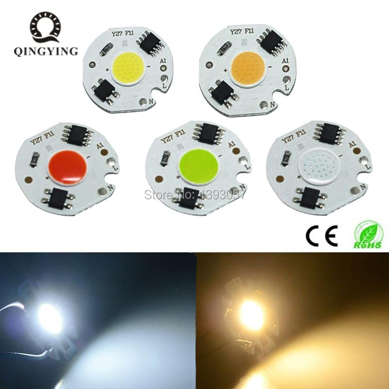 5pcs 3W 5W 7W 10W LED COB Chip AC220V 220V Smart IC Driver 3 5 7 10 Watt Bulb Lamp Light Source For DIY LED Floodlight Spotlight