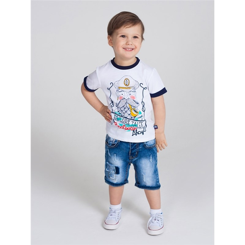 Shorts Sweet Berry Boys denim shorts children clothing raw hem stripe side ripped denim shorts