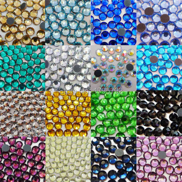 AAAA 288pcs 30 Colors SS16 (3.8mm-4.0mm) DMC HotFix Flat Back iron on Rhinestones glass crystals for nail garment decoration