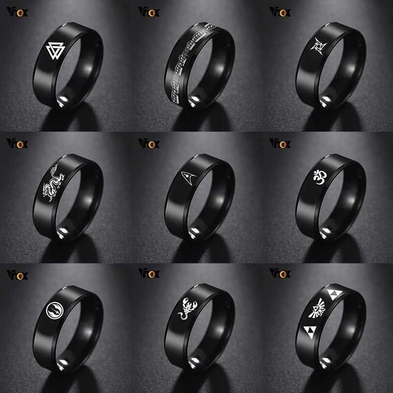 Vnox legal dragão chinês anel para homens personalizado gravura 8mm preto aço inoxidável punk masculino anel de presente para ele