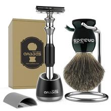 Anblas juego de brochas de afeitar y maquinilla de afeitar, el mejor pelo de tejón mango de madera negra maquinilla de afeitar DE SEGURIDAD DE peluquero y soporte para hombres afeitado húmedo