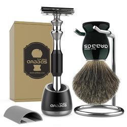 Juego de brochas y maquinilla de afeitar, mejor pelo de tejón mango de madera negro Barbero maquinilla de afeitar de seguridad y soporte para afeitado húmedo para hombre