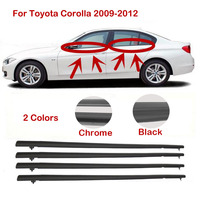 4pcs For Toyota Corolla 2009 2010 2011 2012 Door Weatherstrip Belt Seal Belt Moulding Trims Weather Strip 7574002190 7572012780