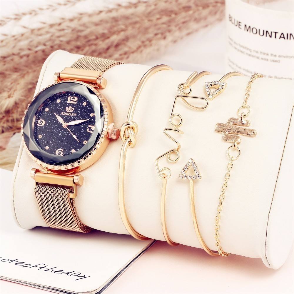 5pc/set Luxury Brand Women Watches Starry Sky Magnet Watch Buckle Fashion Casual Female Wristwatch Roman Numeral Simple Bracelet