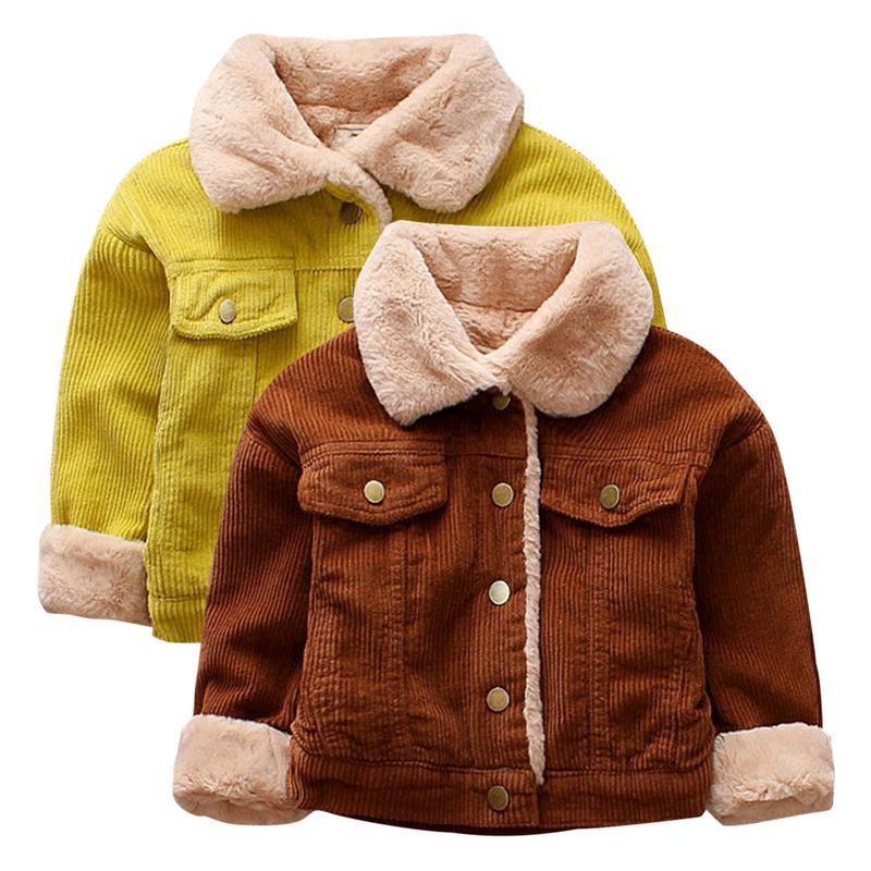 Bambini Vintage Velluto A Coste Foderato In Pile Giacca Ispessito Caldo Trapuntato Giacca Del Bambino Dei Ragazzi Vestiti Di Inverno Di Autunno Alta Qualità E Basso Sovraccarico