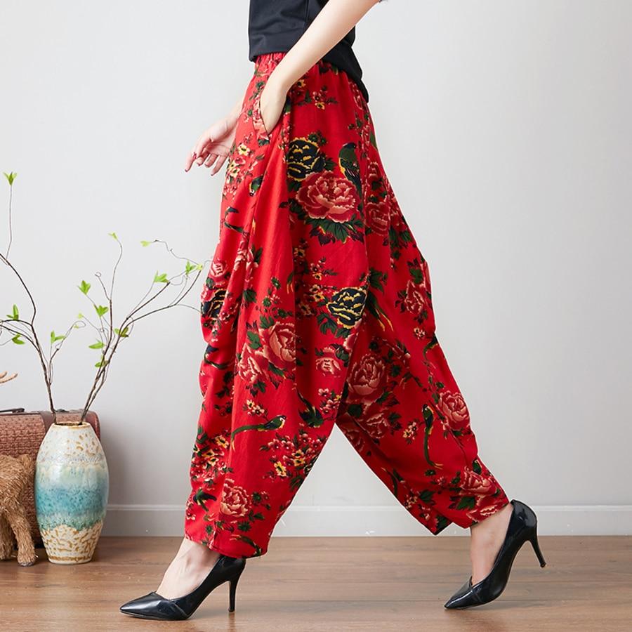 Ethnic Style Women Floral Print   Wide     Leg     Pants   Vintage Spring Autumn Casual Loose Elastic Waist Loose Cotton Linen Trousers