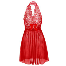 Sexy Exotic Plus Size Woman Female Lace Sleepwear Lingerie Set Women Bridal Babydoll Dress Solid Red Lace Backless Dress(China)