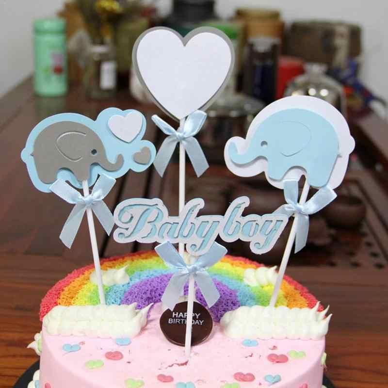 4 шт. для маленьких девочек и мальчиков торт Топпер слон выпечки торт Топпер для банкета праздник Декор ко дню рождения десерт на вечеринку платье