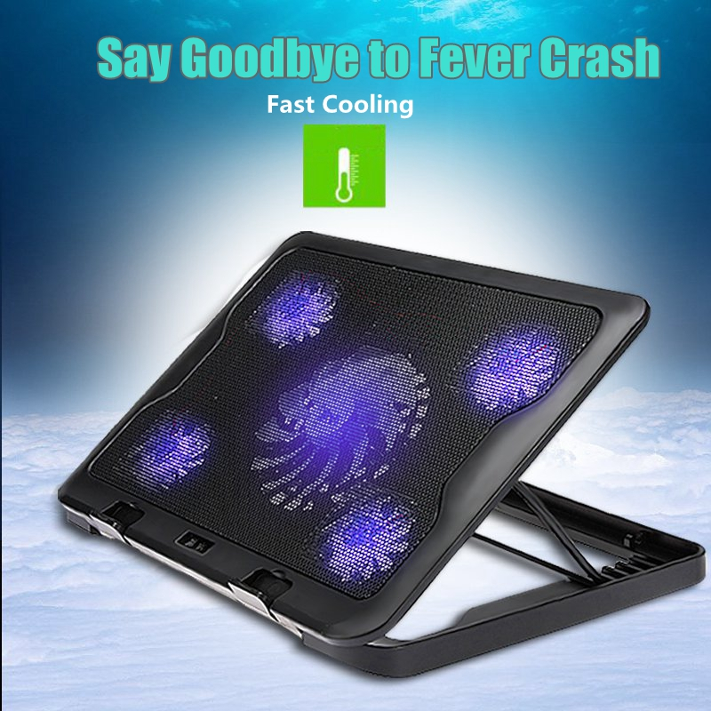 5 Fans LED USB Cooling Adjustable Pad For Laptop Notebook 7-17inch Stand Pad for Laptop PC Usb Cooler For Notebook +USB Cord pccooler laptop cooler usb portable notebook cooler cooling for notebook computer hardware cooling