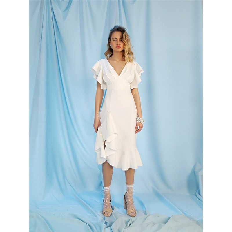 Dress with frill. Color White vertical striped frill trim wrap dress