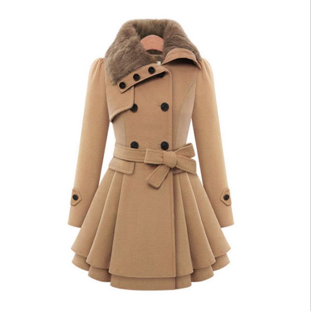 Women Woolen Windproof Coat Winter Casual Warm Jacket Slim Fit Medium Long Sleeve Overcoat Double Breasted Windbreaker Overcoat