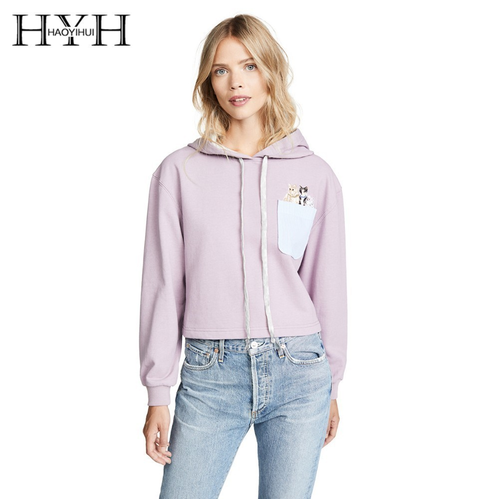 HYH HAOYIHUI 2019 Fashion Girl Sweet Cat Embroidery Contrast Color Pocket Pink Top Comfortable Hoodie