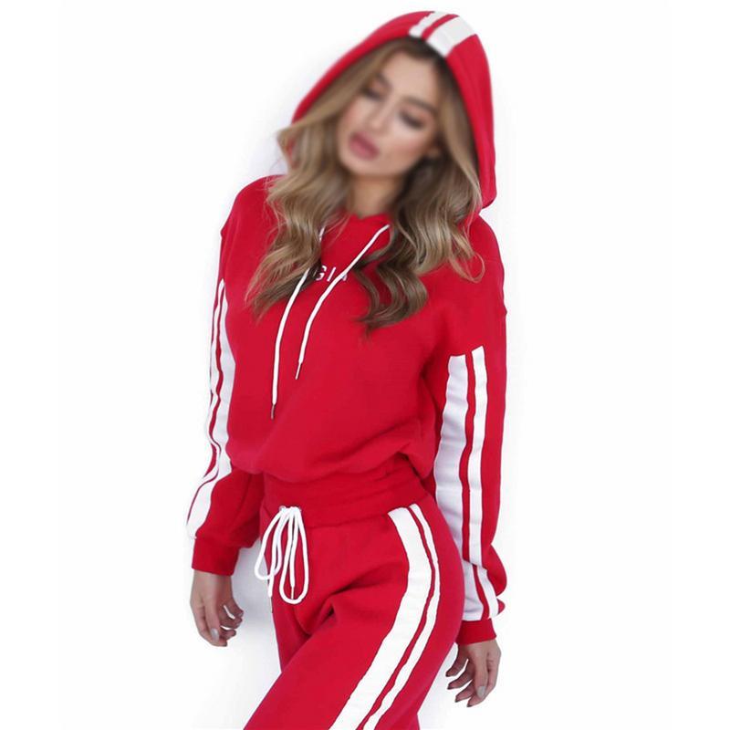 2019 Mode 2 Stück Set Frauen Rot Weiß Sweatshirt Und Hosen Anzug Sexy Lose Stil Brief Drucken Casual Streifen Trainingsanzug Femme Online Shop
