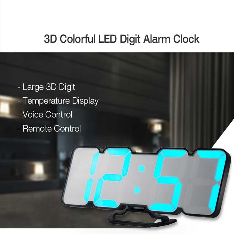 3D цифровой светодиодный Будильник Дистанционное контрольный термометр светодиодный цифровой смарт-будильник звуковой с голосовым управлением Три настраиваемый сигнал