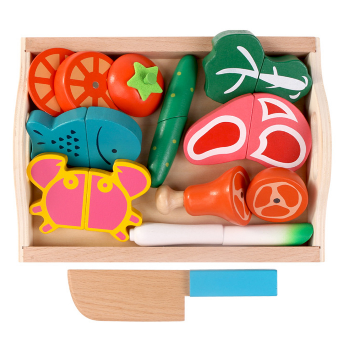 9/10Pcs 3+ Children Kitchen Toys Pretend Play Wooden Tray Magnetic Cutting Meats Vegetable Fish Crab Early Educational Toys9/10Pcs 3+ Children Kitchen Toys Pretend Play Wooden Tray Magnetic Cutting Meats Vegetable Fish Crab Early Educational Toys